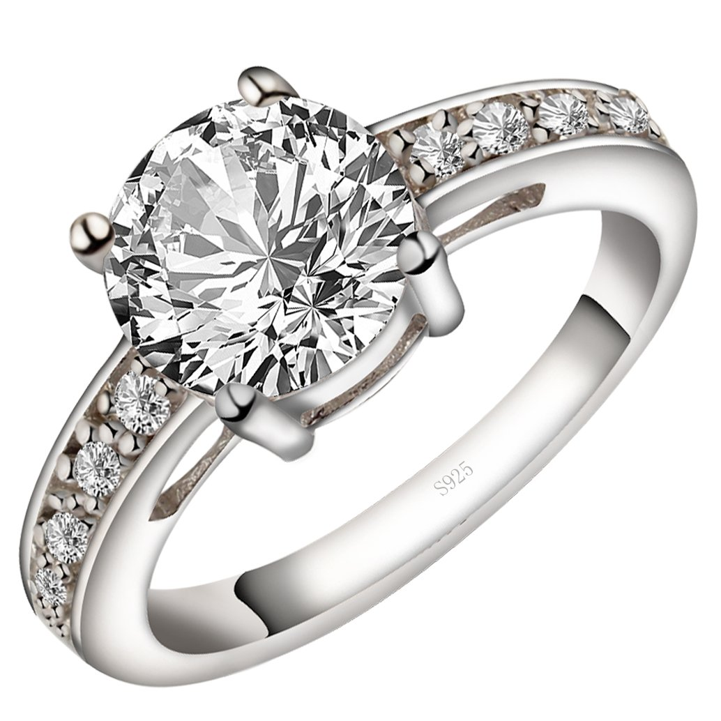 Viyino Women's Round 3ct Cubic Zirconia Promise Halo Solitaire Engagement Ring 925 Sterling Silver (5.5)