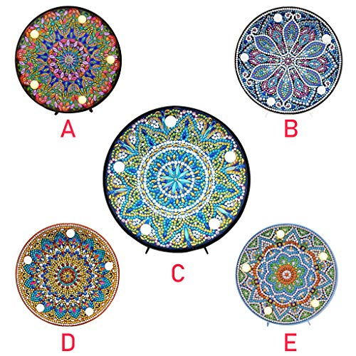 Diamond Painting Mandala with LED Lights DIY Special Shaped Full Drill Crystal Diamond Drawing Bedside Lamp for Home Decoration or Gifts-6x6in
