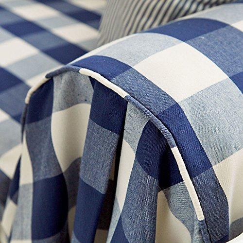Desy azul Plaid sofá funda de tela de gamuza de algodón de lona ...