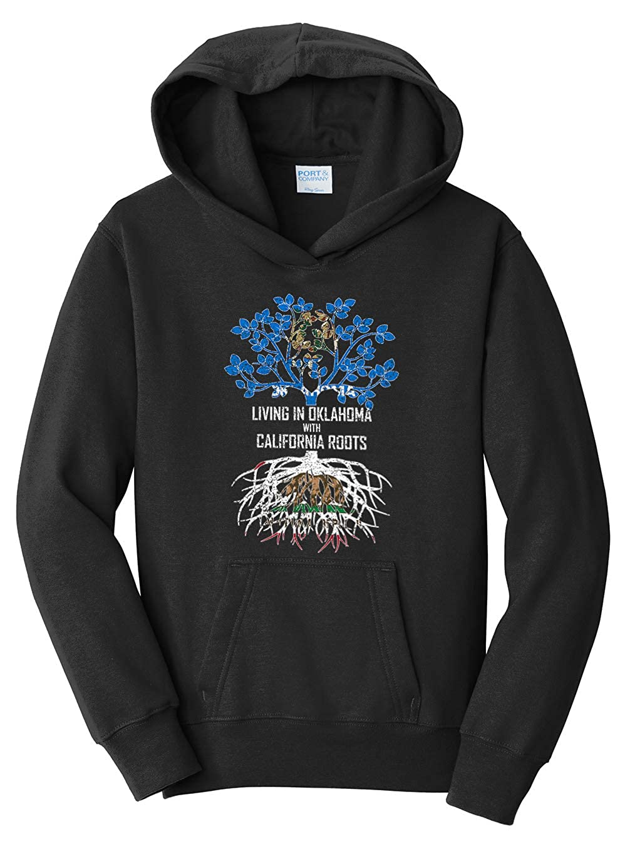 Tenacitee Girls Living in Oklahoma with California Roots Hooded Sweatshirt