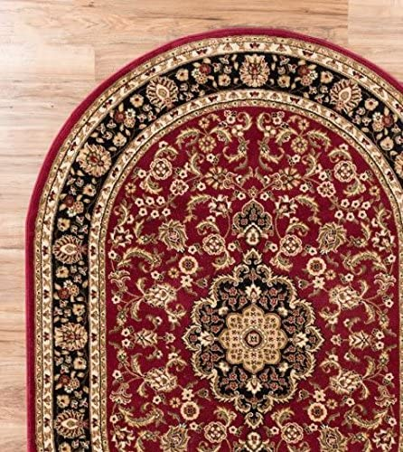 Persian Classic Red Burgundy 6 7 x 9 6 Oval Area Rug Oriental Floral Motif Detailed Classic Pattern Antique Living Dining Room Bedroom Hallway Office Carpet Easy Clean Traditional Soft Plush Quality