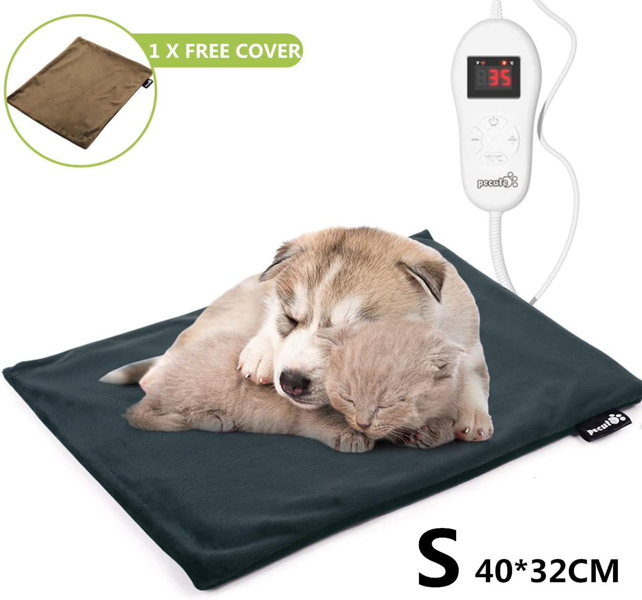 Pecute Pet Heating Pad 5 Adjustable Temperatures Safe Electric Heated Pet Mat for Dogs and Cats Waterproof Pet Bed Warmer with Chew Resistant Cord and Fire Retardant Cotton (2 Flannel Covers)