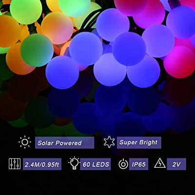 Solar LED String Light Waterproof 60 Ball Decorative Lights Colorful Lighting for Garden Home Landscape Holiday Wedding Party Christmas Decorations : Garden & Outdoor