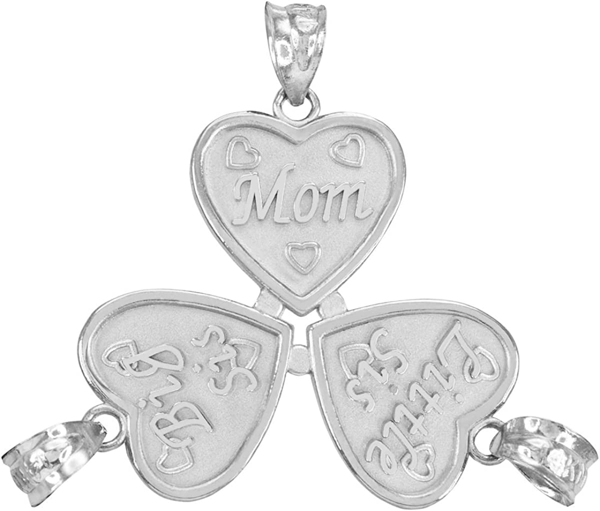 Personalized Sterling Silver Mom and Daughters Custom 3-Piece Breakable Heart Necklace