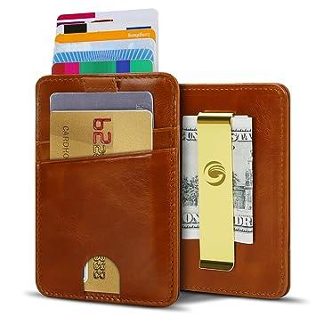 b94a8a3c916f5 Brieftasche Geldklammer dünner Geldbeutel Portmonee Herren-Geldbörsen aus  echtem Leder