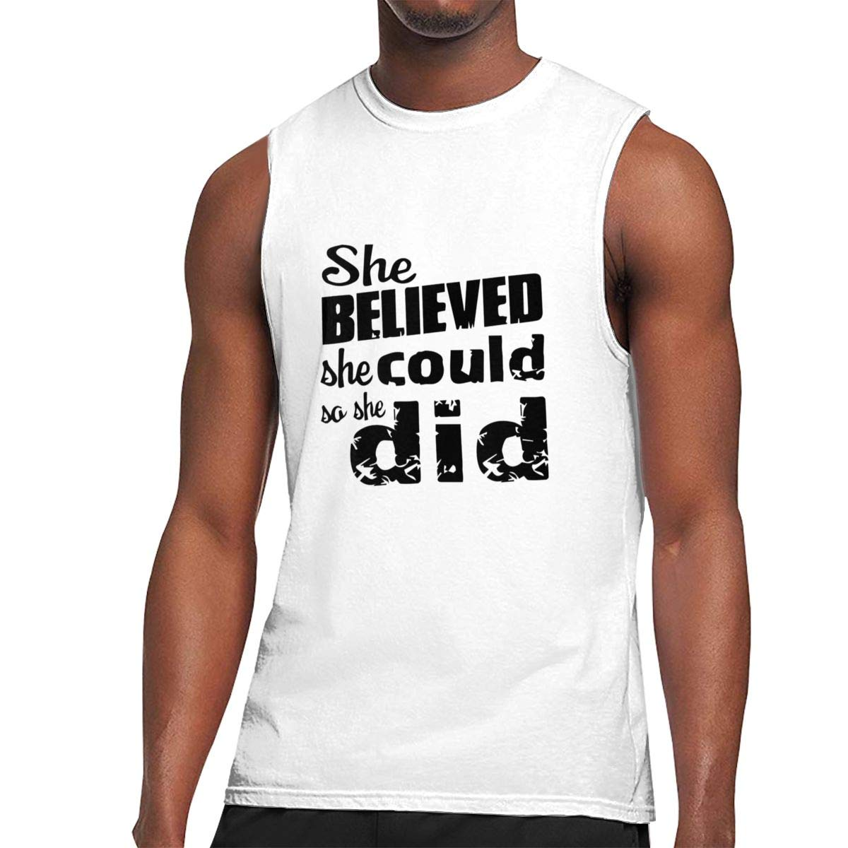 Seuriamin She Believed She Could So She Did Casual Walk Sleeveless Muscle Short Sleeve Shi