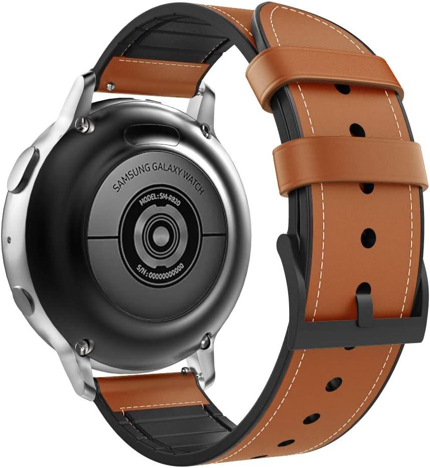 MoKo Compatible con Galaxy Watch 42mm/Active/Active 2/Gear S2 Classic/Gear S4/Ticwatch 2/E Reloj Correa, Pulsera Clásica de Cuero Premium con Conectores metálicos, Las Bandas de Reemplazo - Naranja
