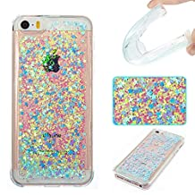 iPhone SE Case,iPhone 5 Cases, RIVRE Fashion Bling Sparkle 3D Creative Liquid Quicksand Floating Flowing Glitter Design Soft TPU Case Cover for Apple iPhone SE/5/5S [Silver Star]