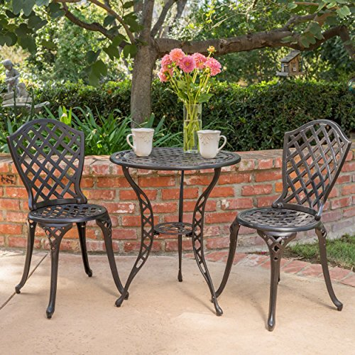 Christopher Knight Home Lyon Black with Bronze Metal Outdoor Bistro Set