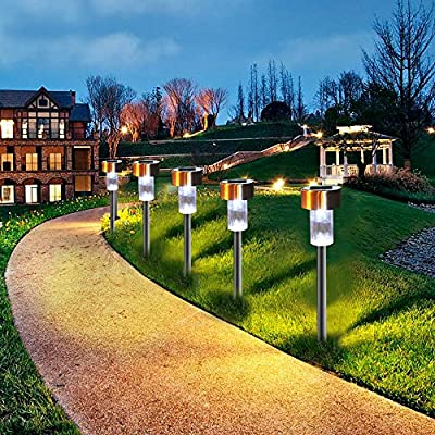 ASTRAEUS Solar Garden Lights Outdoor, Solar Path Lights Stainless Steel, Pathway Landscape Lights Extra-Bright White for Lawn/Patio/Yard/Walkway/Driveway 5PC : Garden & Outdoor