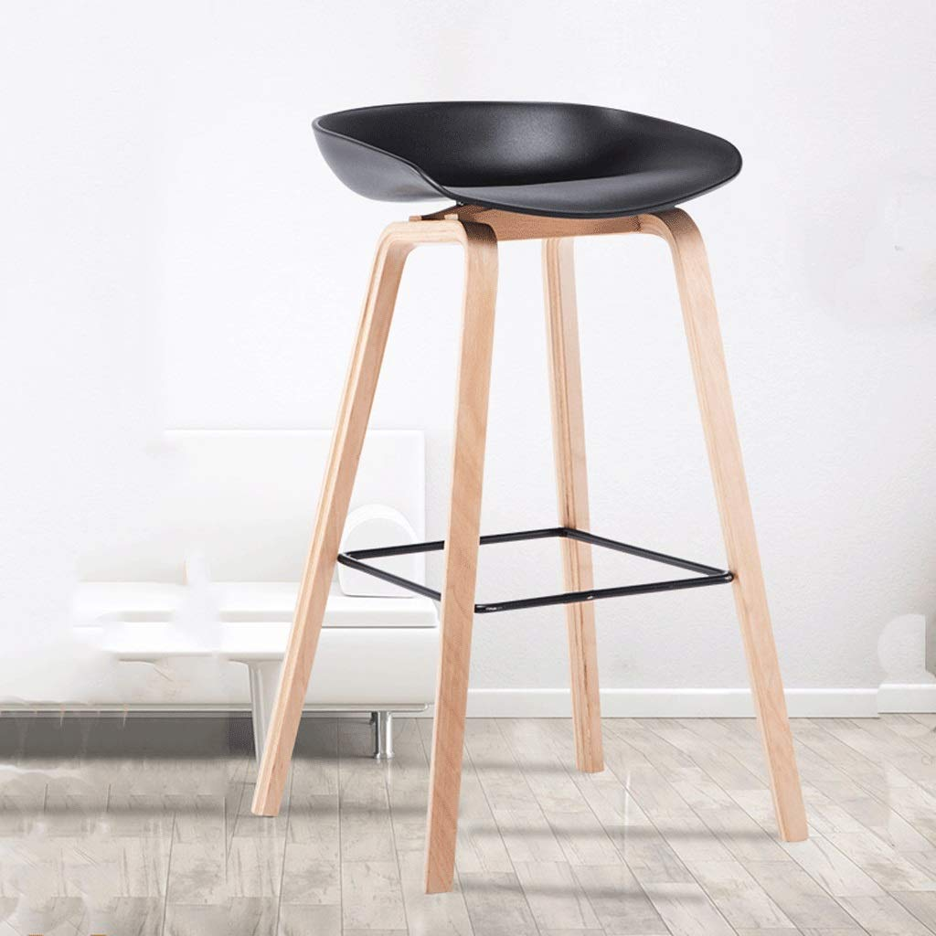 D Dining Chair Bar Stool High Stool Bar Table and Chair Back Mobile Phone Shop Bar Stool Simple Bar Chair Household Solid Wood Seat Soft and Comfortable Fabric A+ (color   D)