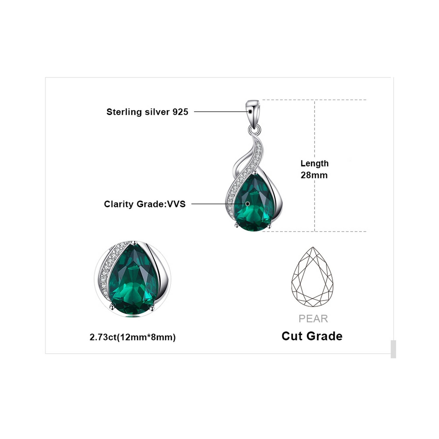 CS-DB Jewelry Silver Pear 2.8ct Created Emerald Chain Charm Pendants Necklaces
