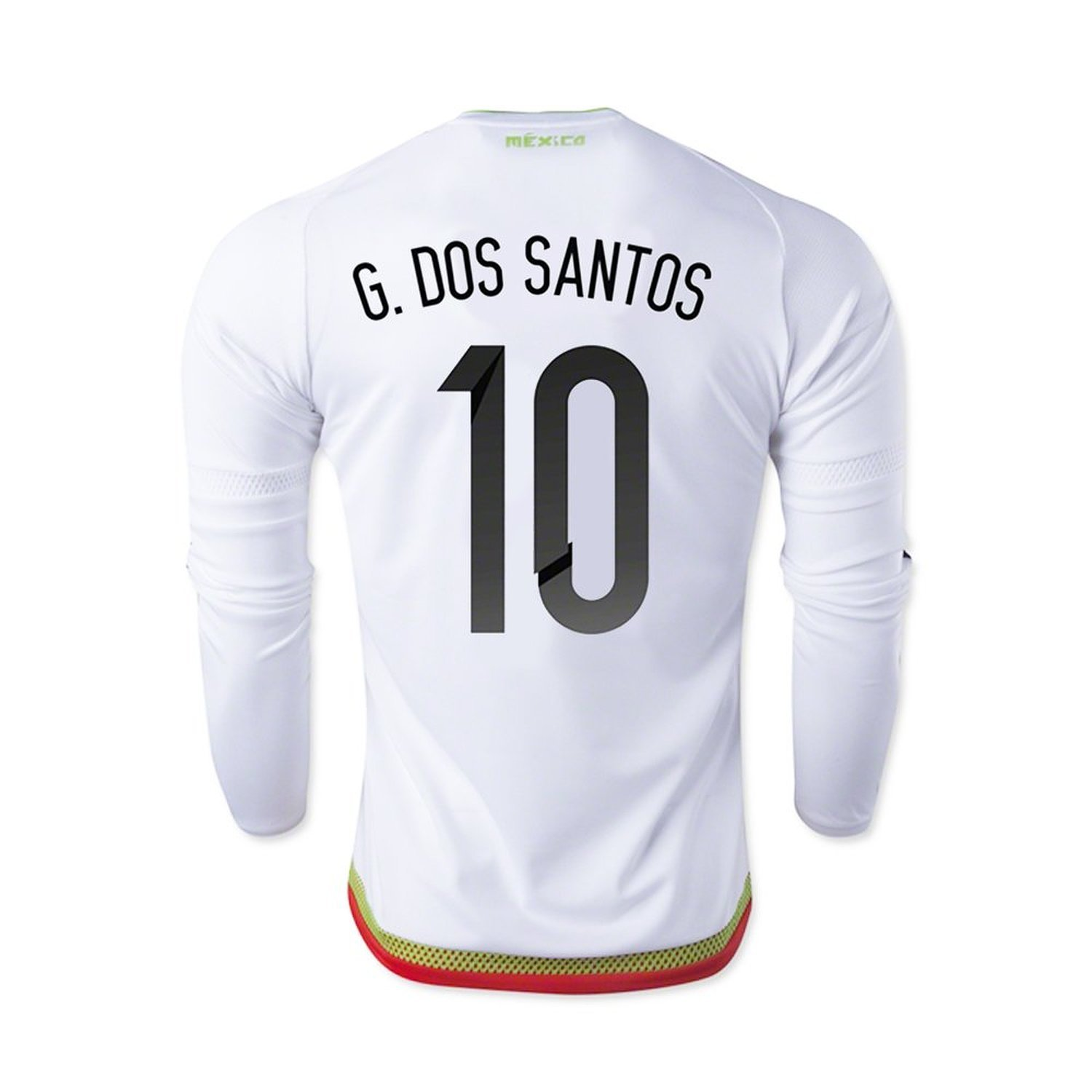 adidas G. Dos Santos #10 Mexico Away Soccer Jersey 2015 -Long Sleeve(Authentic name and number of player)/サッカーユニフォーム メキシコ アウェイ用 ジョバニドスサントス 背番号10 長袖 B014JPWW9I   XL