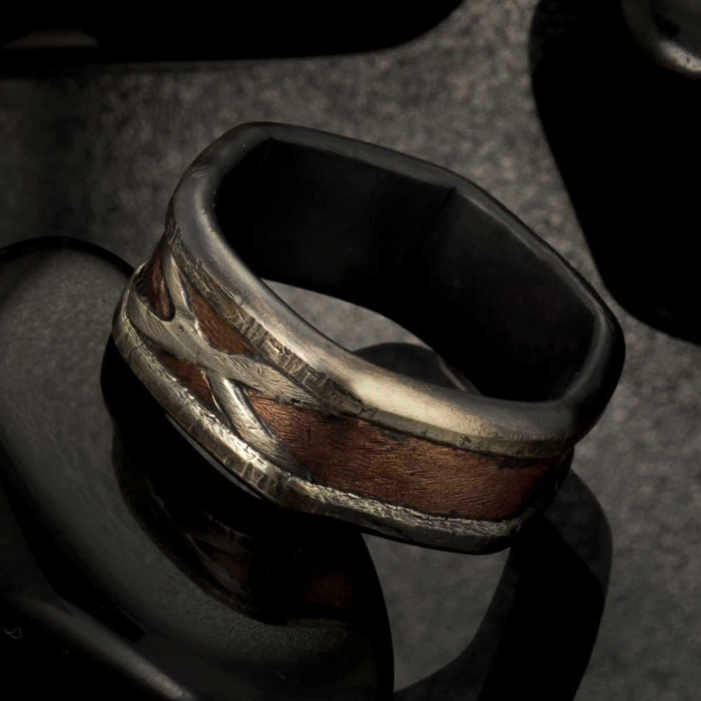 Bark Copper Men's Ring, Two tone silver copper ring, Men's Wedding Band, Hammered Silver Copper Ring, Man's unique wedding Ring, RS-1187