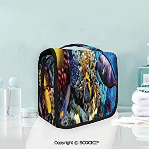 SCOCICI Travel Hanging Wash Bag Kit Wild Sea Life Colorful Corals and Fishe