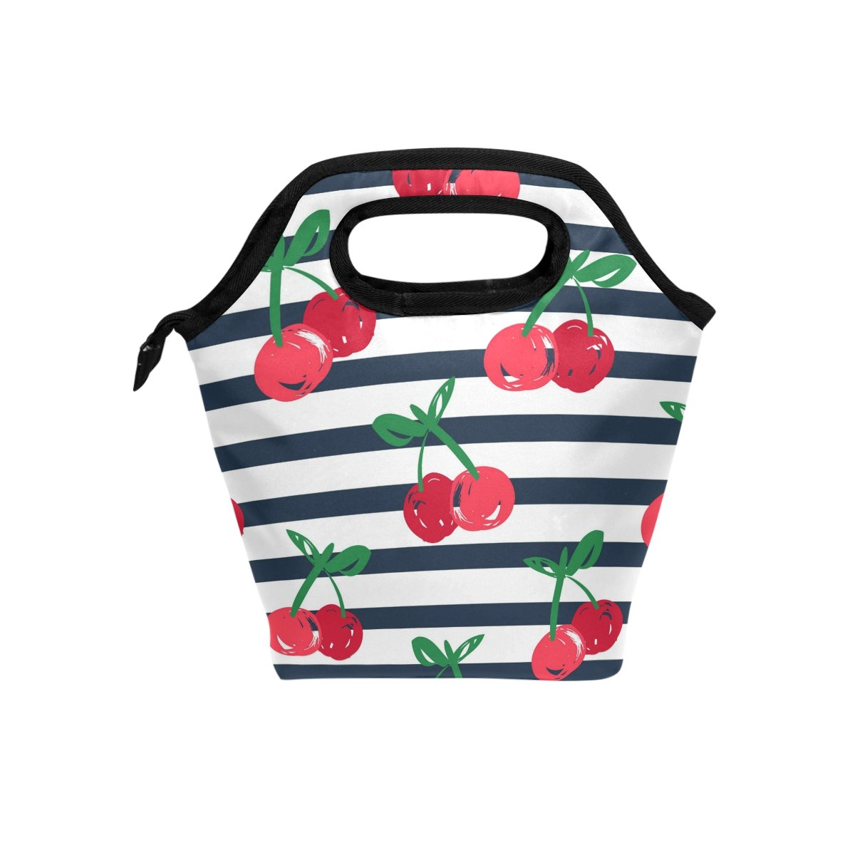 Bettken Lunch Bag Cherry Stripe Pattern Insulated Reusable Lunch Box Portable Lunch Tote Bag Meal Bag Ice Pack for Kids Boys Girls Adult Men Women 輸 入 品
