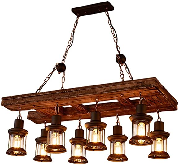 Flashing God Farmhouse Lighting Retro Iron Wooden Chandelier 8 Wind Lamps Light Bulbs Rustic Antique Ceiling Lamp Lighting Fixtures