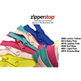 Zipperstop Wholesale YKK® 22 Inch 6pcs Assorted Hottest Colors YKK® #4.5 Handbag Zippers – Extra-long Pull Closed Bottom Made in USA Color #504 Lemon Yellow, #512 Baby Pink, #516 Lipstick Pink, #548 Surf Blue, #851 Light Pink, #918 Victoria Blue