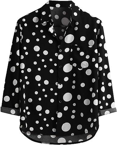 SoonerQuicker Camisas de Hombre Blusa Superior con Estampado de Lunares de Manga Larga Informal Suelta para hombreT Shirt tee: Amazon.es: Ropa y accesorios
