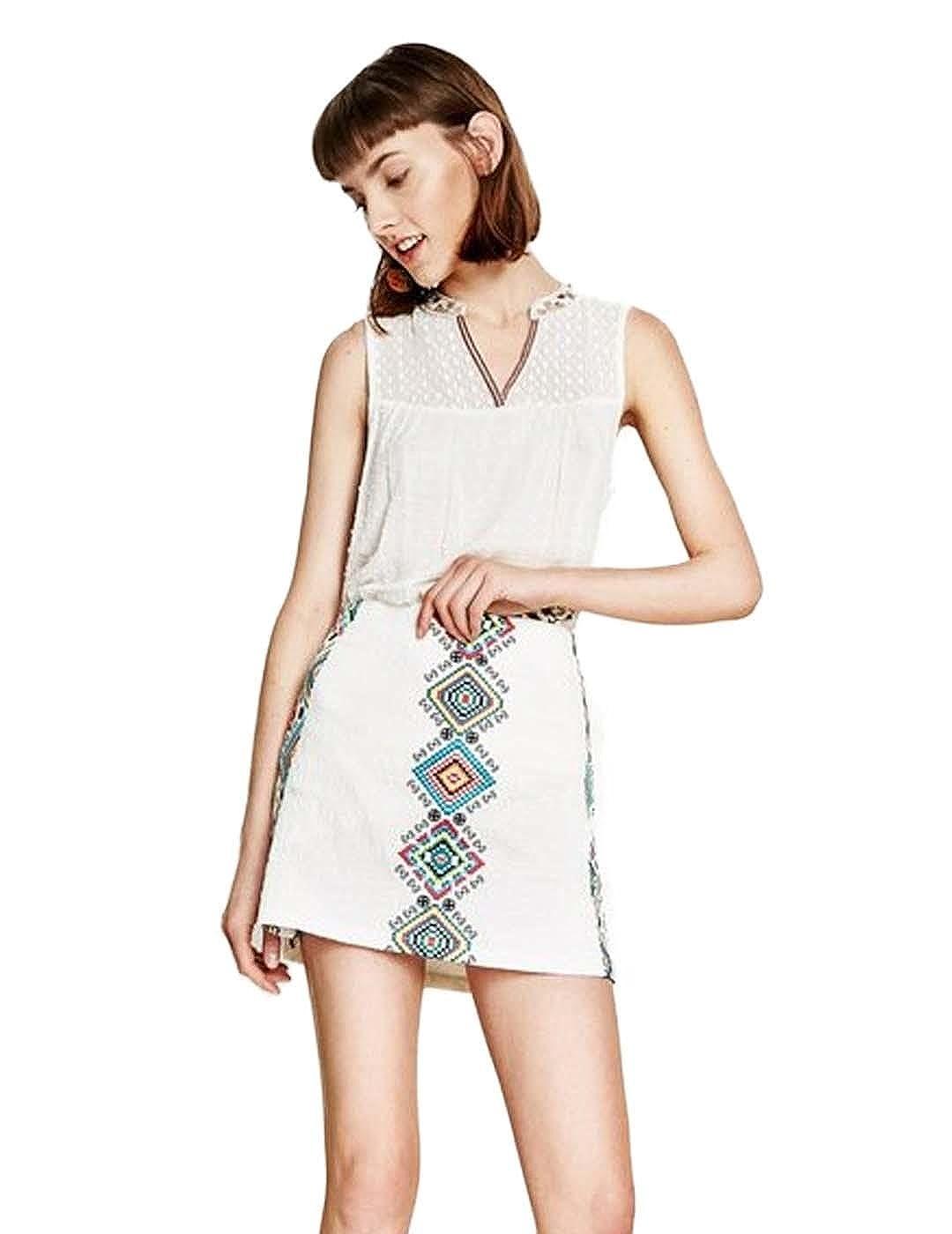 Desigual Falda Estrella Estampada Blanca: Amazon.es: Ropa y accesorios