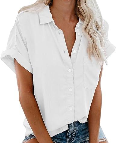 Motoco Top Camisa con Botones Blusa para Mujer con Mode De Marca Cuello En V Camisa De Manga Corta Blusa con Camisa Ajustada Camisas De Trabajo Causales: Amazon.es: Ropa y accesorios