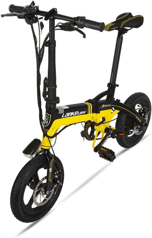 GTYW, Eléctrico, Plegable, Bicicleta, Montaña, Bicicleta, Ciclomotor Adulto, Bicicleta Eléctrica De Litio, 14 Pulgadas, Ultra Ligero, Mini, Coche Eléctrico, Duración De La Batería 35KM,E-36V-8.4ah: Amazon.es: Hogar