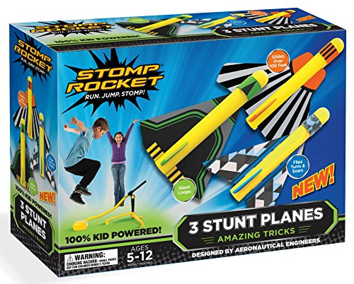 Stomp Rocket Stunt Planes – 3 Foam Plane Toys for Boys and Girls – Outdoor Rocket Toy Gift for Ages 5 (6, 7, 8) and Up