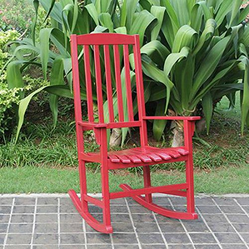 Wooden Outdoor Rocking Chair for Adults in Contemporary Red Design, for Porch or Patio Area