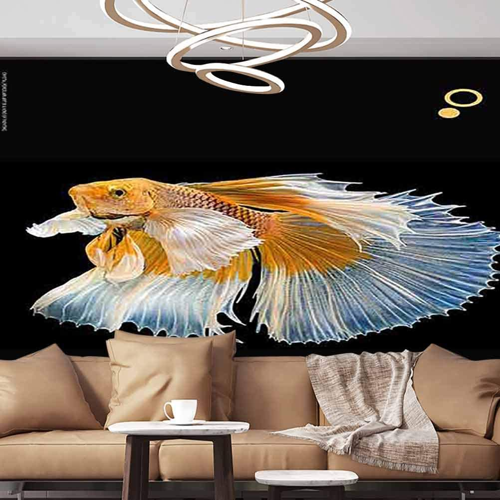 Wall Stickers Murals bett splendens isolated fish Multi color Siamese fighting fish Paperhanging Wallpaper ,120X83 inches/304x210 cm,For Office Nursery School Family Decor Playroom Birthday Gift