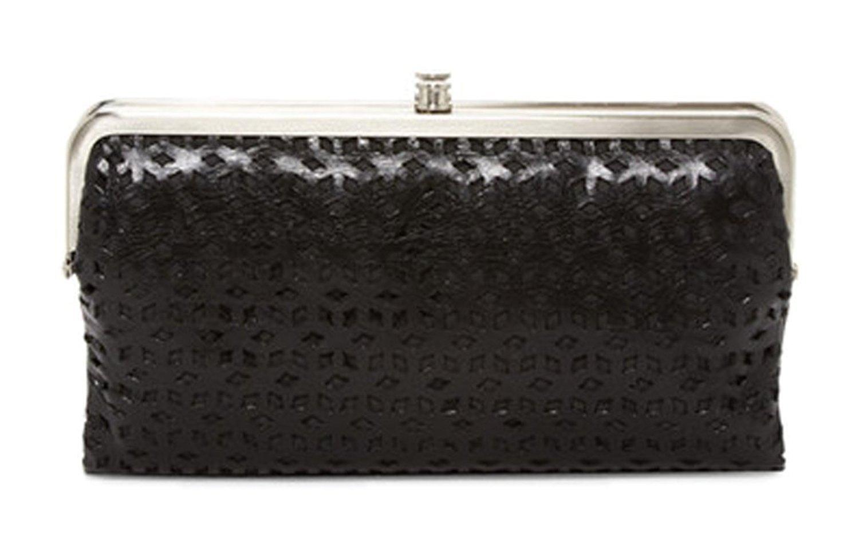 Hobo International Lauren Clutch Wallet Laser cut Perforated Black
