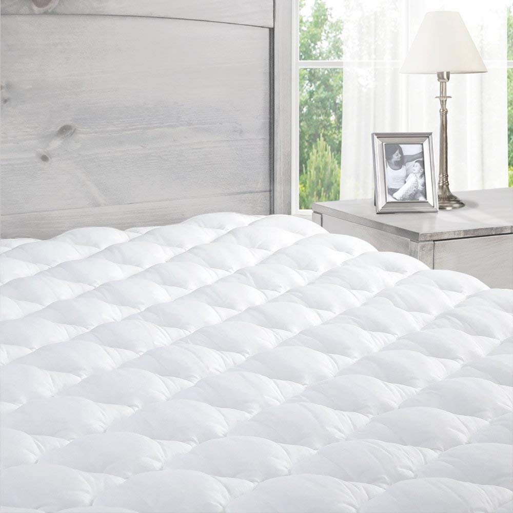 ExceptionalSheets Pillowtop Mattress Pad with Fitted Skirt - Extra Plush Topper Found in Marriott Hotels - Made in the USA, California King Size