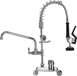 YooGyy Commercial Sink Restaurant Faucet with Pull Down Sprayer Wall Mount 4 Inch to 8 Inch Adjustable Center Size 26'' Height Pre-rinse Faucet with 12 Inch Add-on Swing Spout