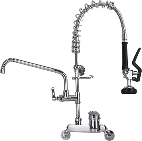 YooGyy Commercial Sink Restaurant Faucet with Pull Down Sprayer Wall Mount 4 Inch to 8 Inch Adjustable Center Size 26 Height Pre-rinse Faucet with 12 Inch Add-on Swing Spout