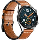 Leafboat Compatible Huawei Watch GT Strap,Huawei Watch GT Leather Straps,22mm Soft Leather Huawei GT Replacement Strap with Quick-released Metal Buckle for Huawei Watch GT Running Watch-Brown