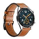 Leafboat kompatibel mit Huawei Watch GT Armband / Huawei Watch GT Active Armband, 22 mm Weiches Leder Ersatzarmband für Huawei Watch GT /Active/Samsung Galaxy Watch 46 mm--Braun