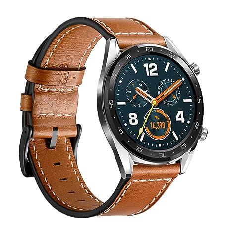 Leafboat Compatible con Correa Huawei Watch GT, 22mm Pulsera Huawei GT Reemplazo Cuero Clásica de