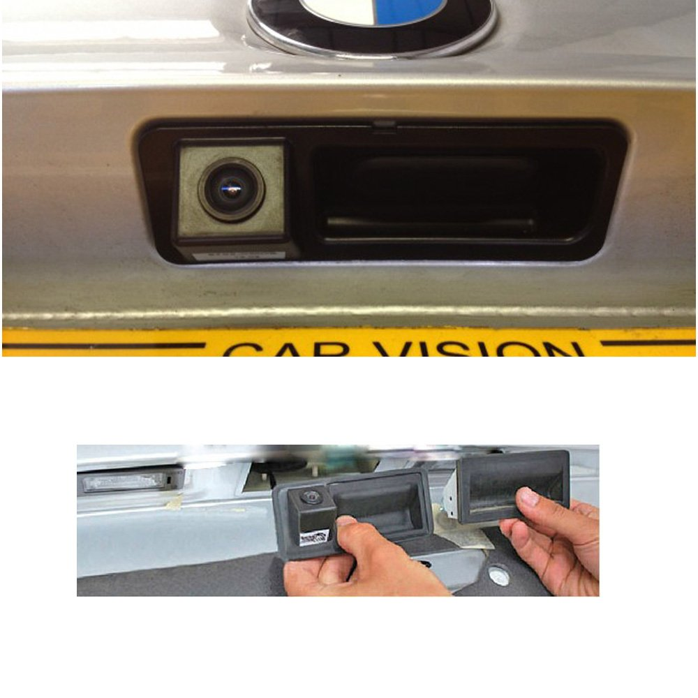 RCA ,Rear View Reverse Parking Camera for BMW X5 X1 X6 E39 E46 E53 E82 E88 E84 E90 E91 E92 E93 E60 E61 E70 E71 E72 Model B=162 x48 mm Backup Camera with Tailgate Handle for Universal Monitors