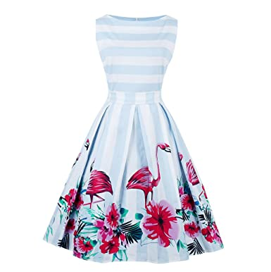 KeKeD23921 Vintage Dress For Women Flamingo Print Retro Dress Elegant Pattern Feminino Vestidos Swing Dress,