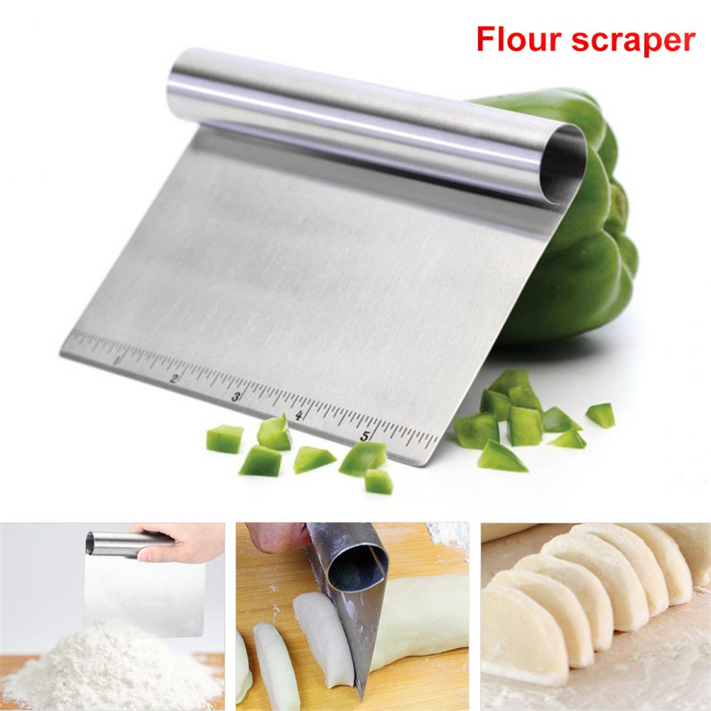 Flour Scraper Stainless Steel Cake Scraper Edge Smoother Baking Tools with Scale for Dough Flour Pastry Cream Pizza cheerfulus