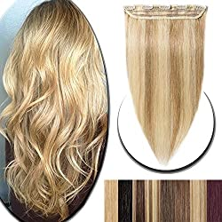 """100% Real Hair Extensions Clip in Remy Human Hair 18"""" 50g One-piece 5 Clips Long Straight Hair Extensions for Women Wide Weft Soft Silky Balayage #18/613 Ash Blonde Highlighted with Bleach Blonde"""