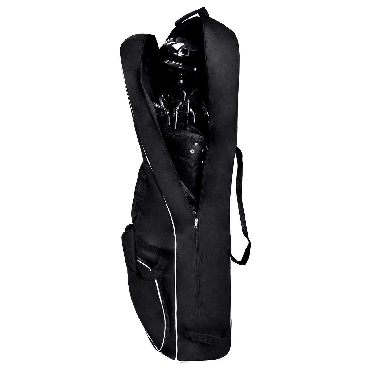 Tangkula Foldable Golf Stand Bag Travel Cover Portable Golf Travel Bag with Wheel Lightweight Oxford Cloth Golf Padded Travel Cover Golf Carry Bag,Black