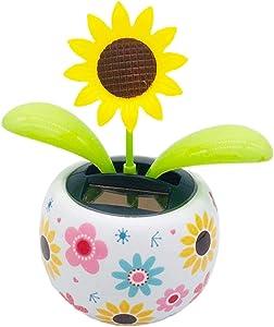 ADJ Fashion Solar Powered Dancing Flower Toy Solar Automatic Swing Flowerpot Car Decoration for Office Desk & Car Decor