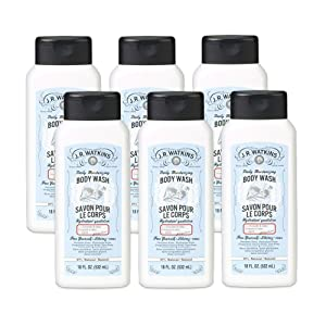 JR Watkins Natural Daily Moisturizing Body Wash, Coriander & Cedar, 6 Pack, Hydrating Shower Gel for Men and Women, Free of SLS, USA Made and Cruelty Free, 18 fl oz
