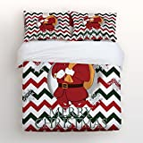 Libaoge Piece Bed Sheets Set, Smiling Santa Claus with Gift Bag Winter Snowflake Green Red Chevron Zig Zag Design, 1 Flat Sheet 1 Duvet Cover and 2 Pillow Cases