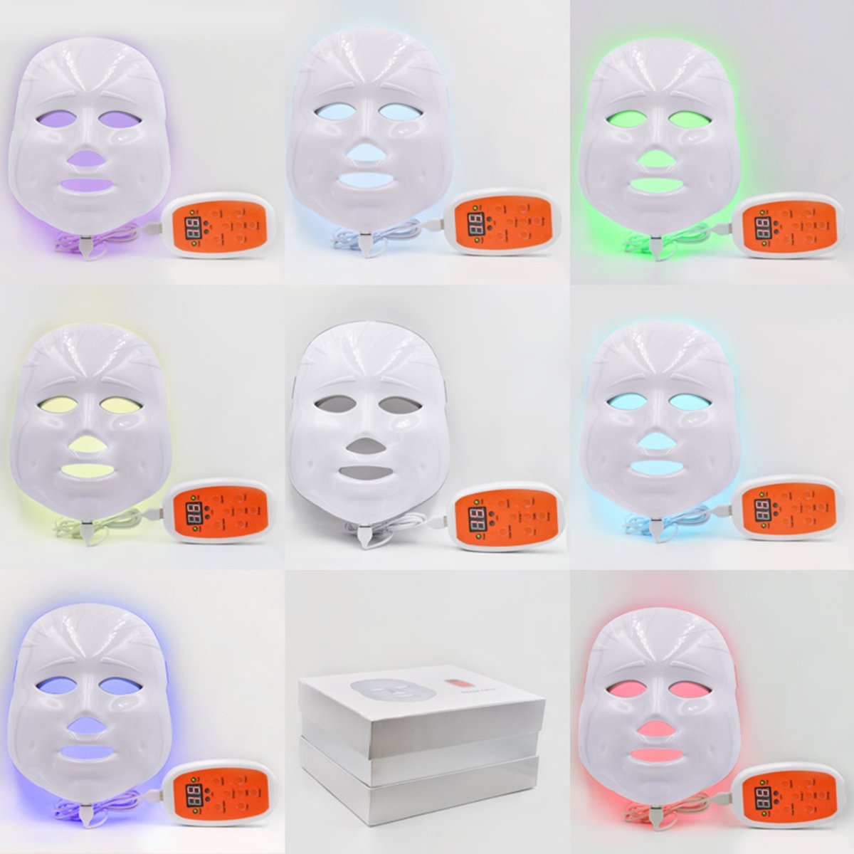 Phototherapy Trichromatic Color LED Mask Instrument Cold Light LED electronic Mask Instrument Professional Beauty Rejuvenation Instrument Therapy Facial Skin Care Mask Device by Simpled (Image #4)