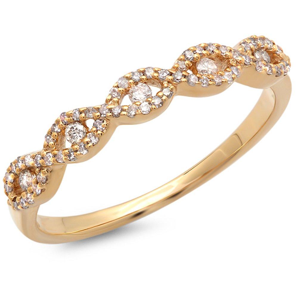 Dazzlingrock Collection 0.25 Carat (ctw) 14K Round Diamond Ladies Bridal Stackable Anniversary Wedding Band Swirl Ring 1/4 CT, Yellow Gold, Size 7