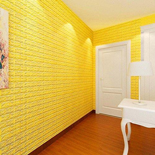 (Hot Sale!!! Wall Decals,Jushye PE Foam 3D Wallpaper DIY Wall Stickers Wall Decor Embossed Brick Stone (Yellow))