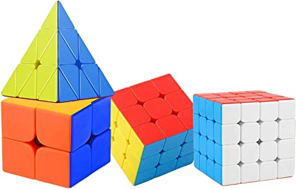 Nabhya High Speed & Smooth Stickerless Brainstorming Magic Puzzle Cube Combo - Anti Stress for Adults and Kids (2x2 3X3 4X4 and Pyraminx) - Set of 4