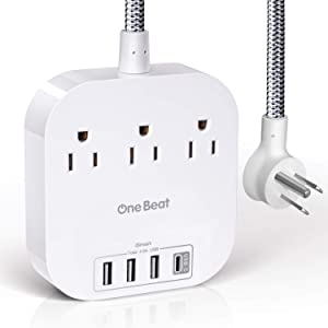 Power Strip with USB C, Desktop Charging Station with 3 Outlets 4 USB Charging Ports(4.5A Total), Flat Plug and 5ft Braided Extension Cord for Cruise, Home & Office - White