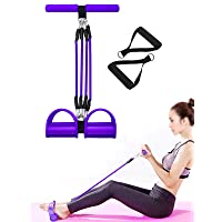 TUOLONG Exercise Equipment Resistance Bands Pull Rope Pedal Fitness Yoga Sit-up Portable Waist Arm Leg Back Stretching Training 4-Tube Natural Latex Elastic Workout Home Outdoor Tension Band